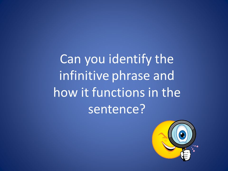 Can you identify the infinitive phrase and how it functions in the sentence