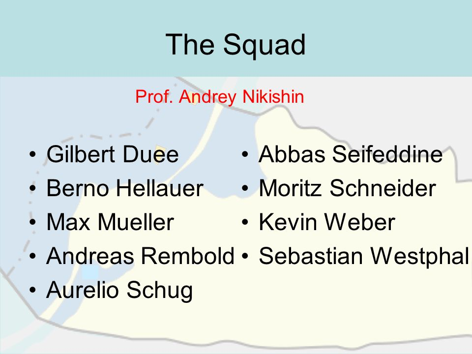 The Squad Gilbert Duee Berno Hellauer Max Mueller Andreas Rembold