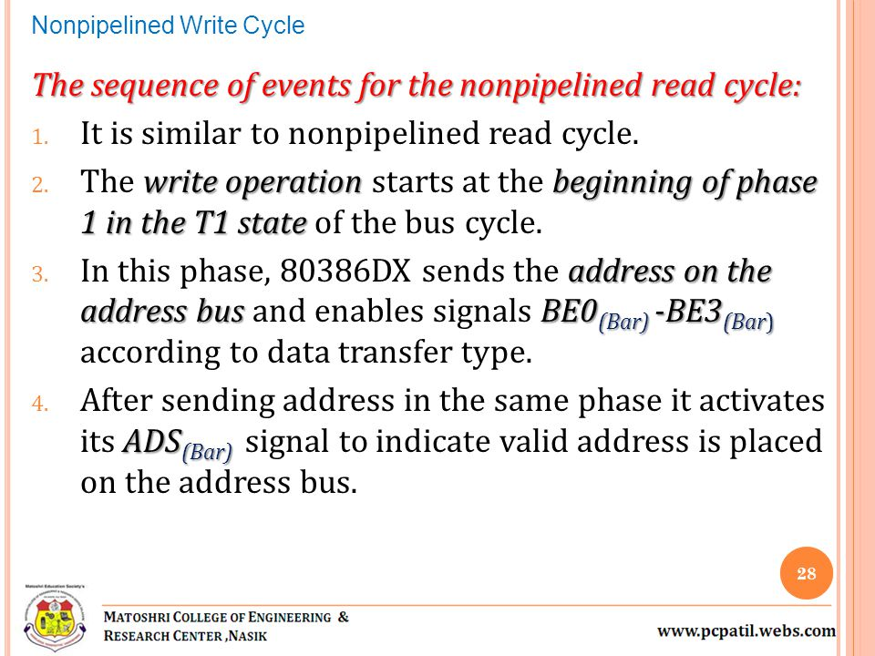 The sequence of events for the nonpipelined read cycle: