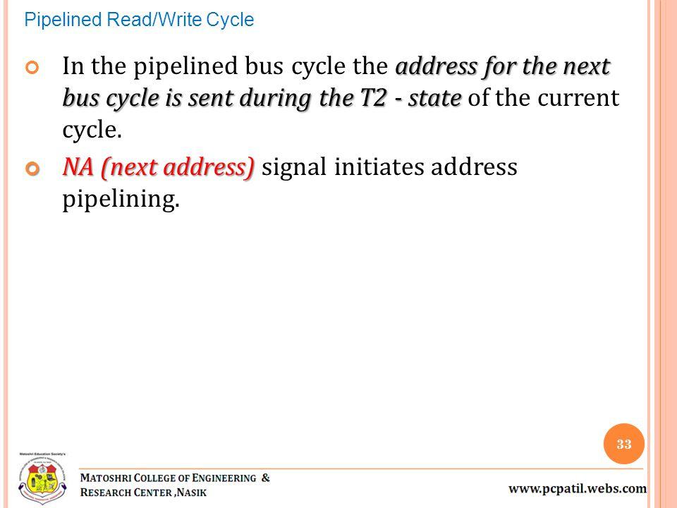 NA (next address) signal initiates address pipelining.