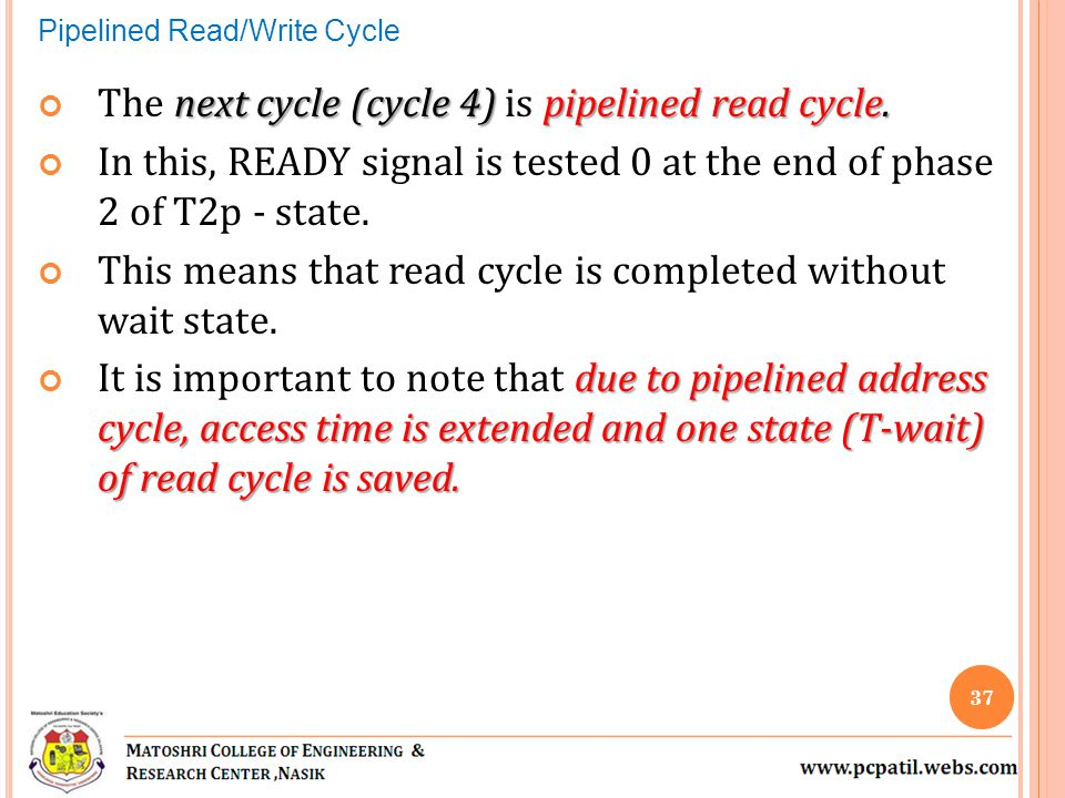 The next cycle (cycle 4) is pipelined read cycle.