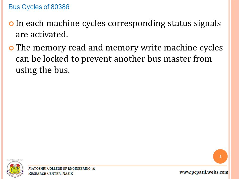 In each machine cycles corresponding status signals are activated.