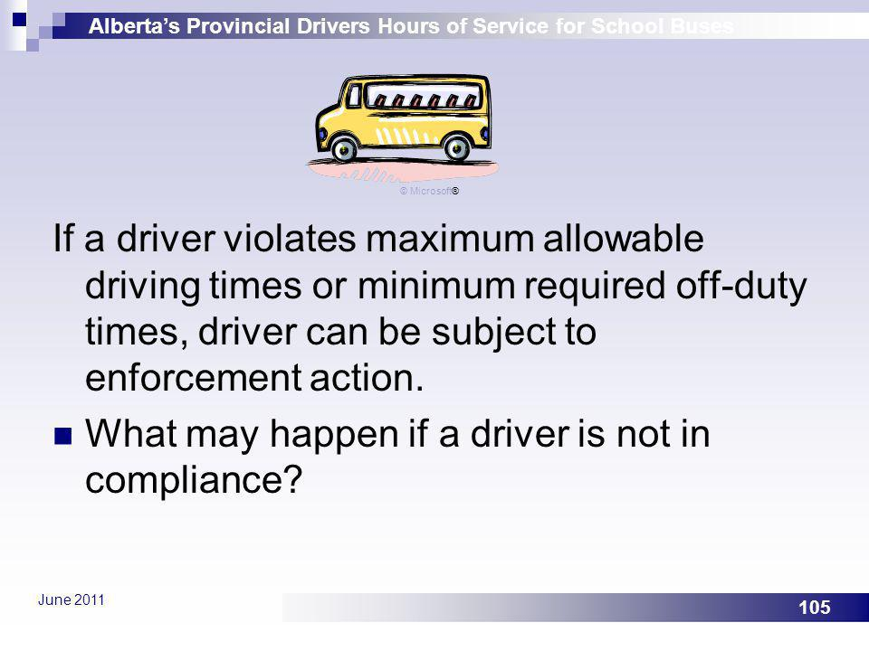 What may happen if a driver is not in compliance