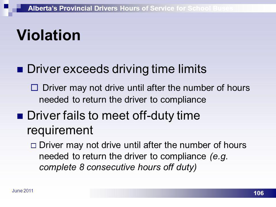 Violation Driver exceeds driving time limits