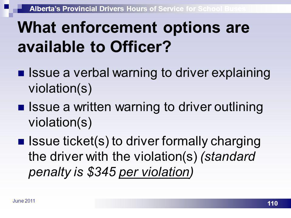 What enforcement options are available to Officer