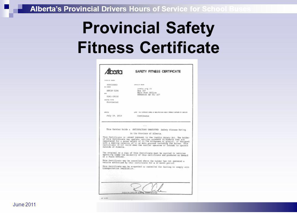 Provincial Safety Fitness Certificate