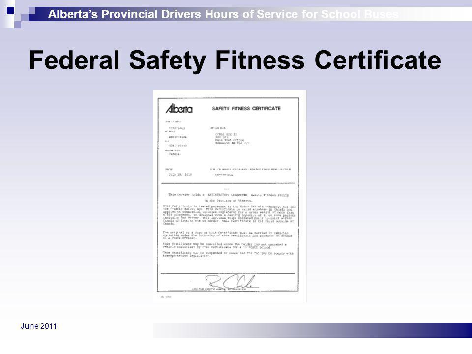 Federal Safety Fitness Certificate