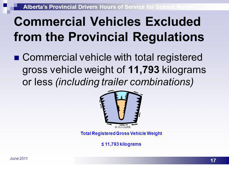 Commercial Vehicles Excluded from the Provincial Regulations