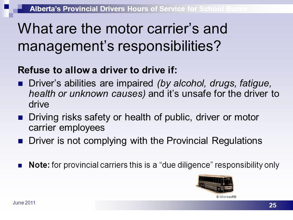What are the motor carrier's and management's responsibilities