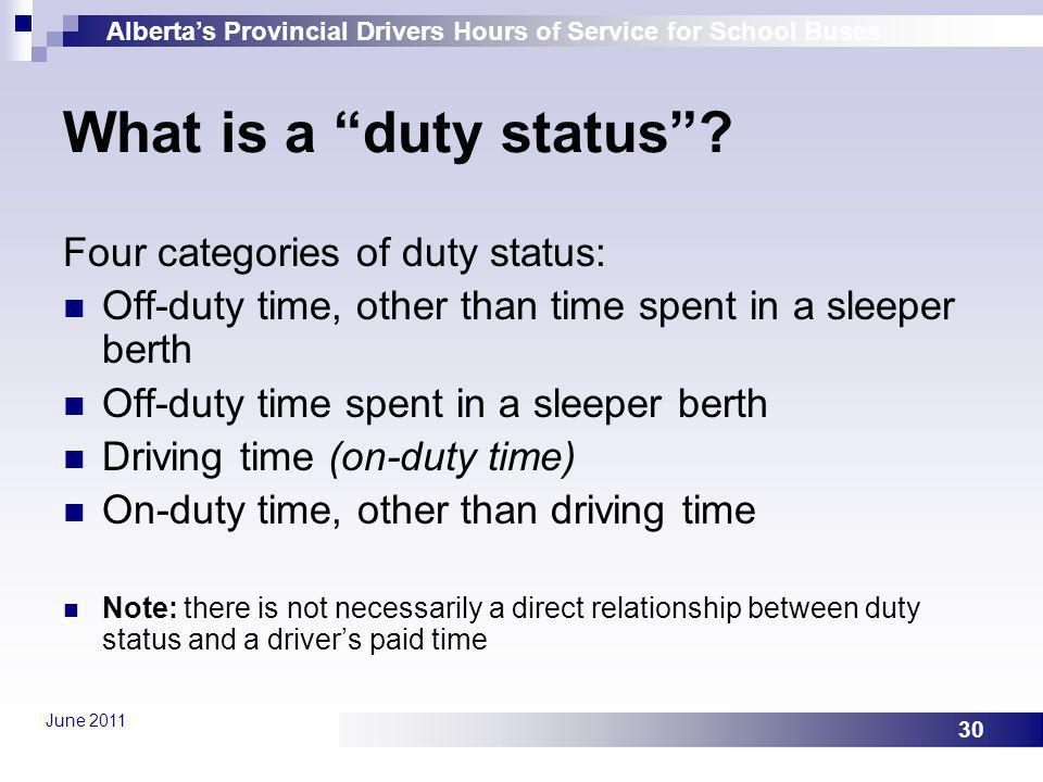 What is a duty status Four categories of duty status: