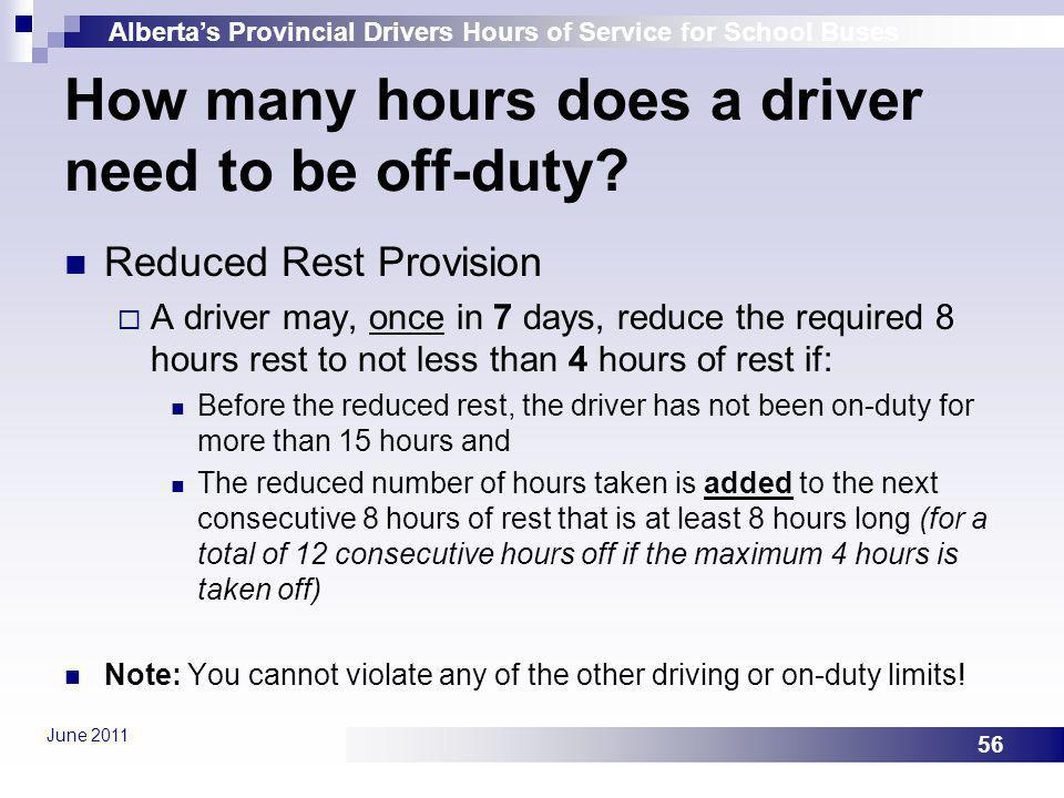 How many hours does a driver need to be off-duty