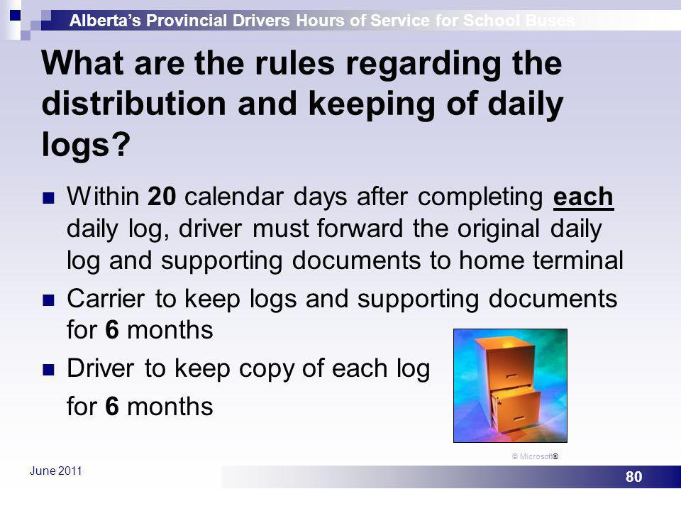 What are the rules regarding the distribution and keeping of daily logs