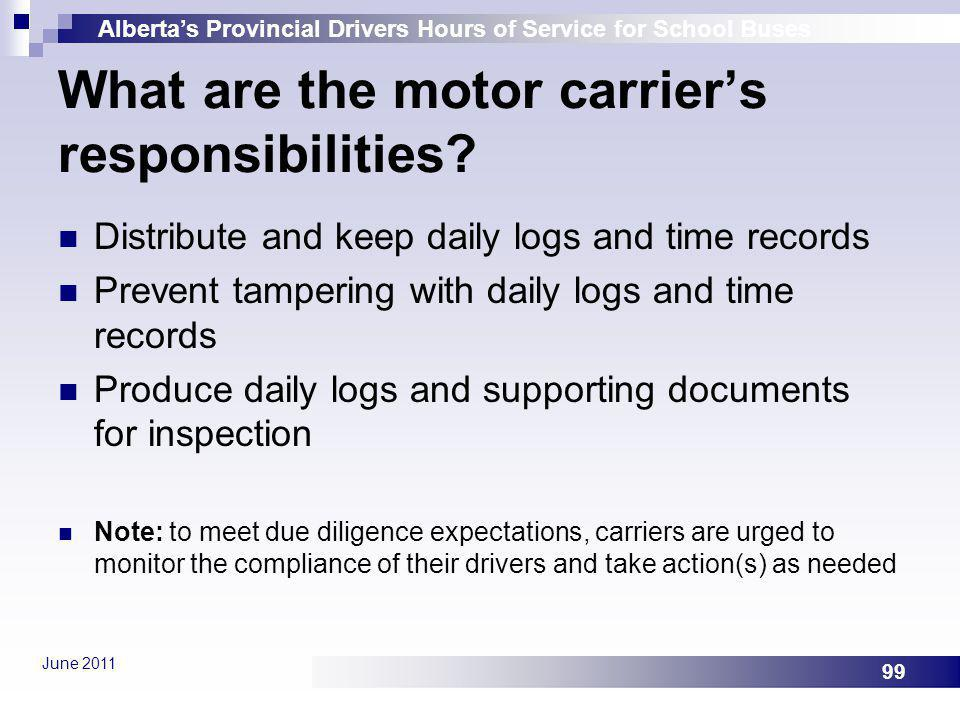 What are the motor carrier's responsibilities