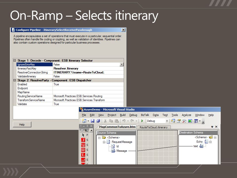 On-Ramp – Selects itinerary