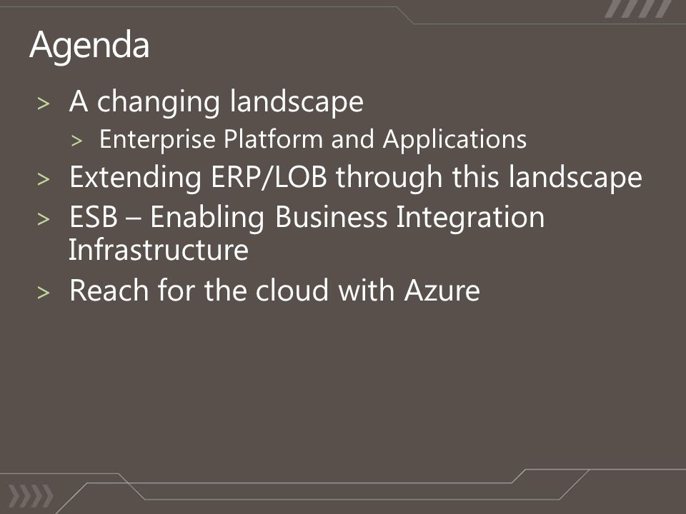 Agenda A changing landscape Extending ERP/LOB through this landscape