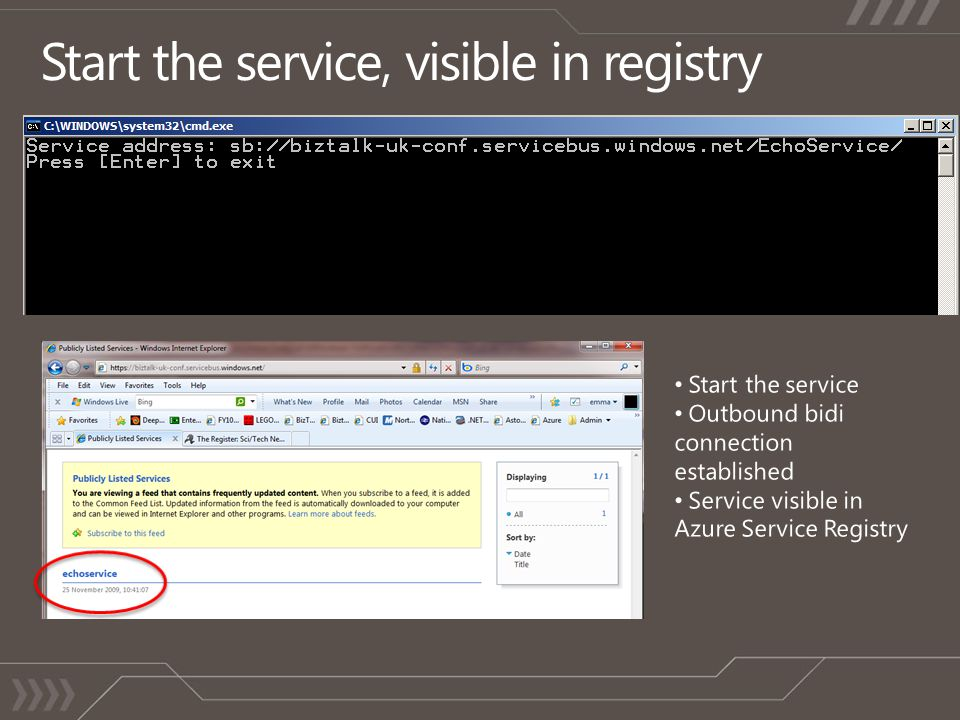 Start the service, visible in registry