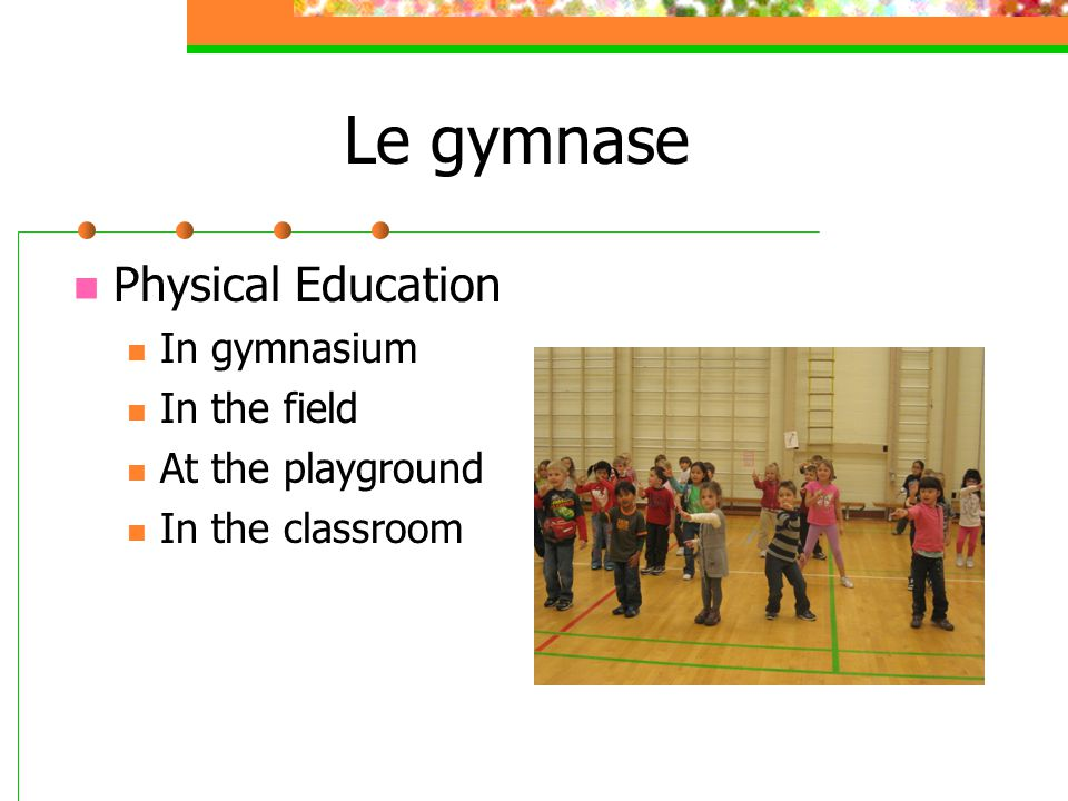 Le gymnase Physical Education In gymnasium In the field