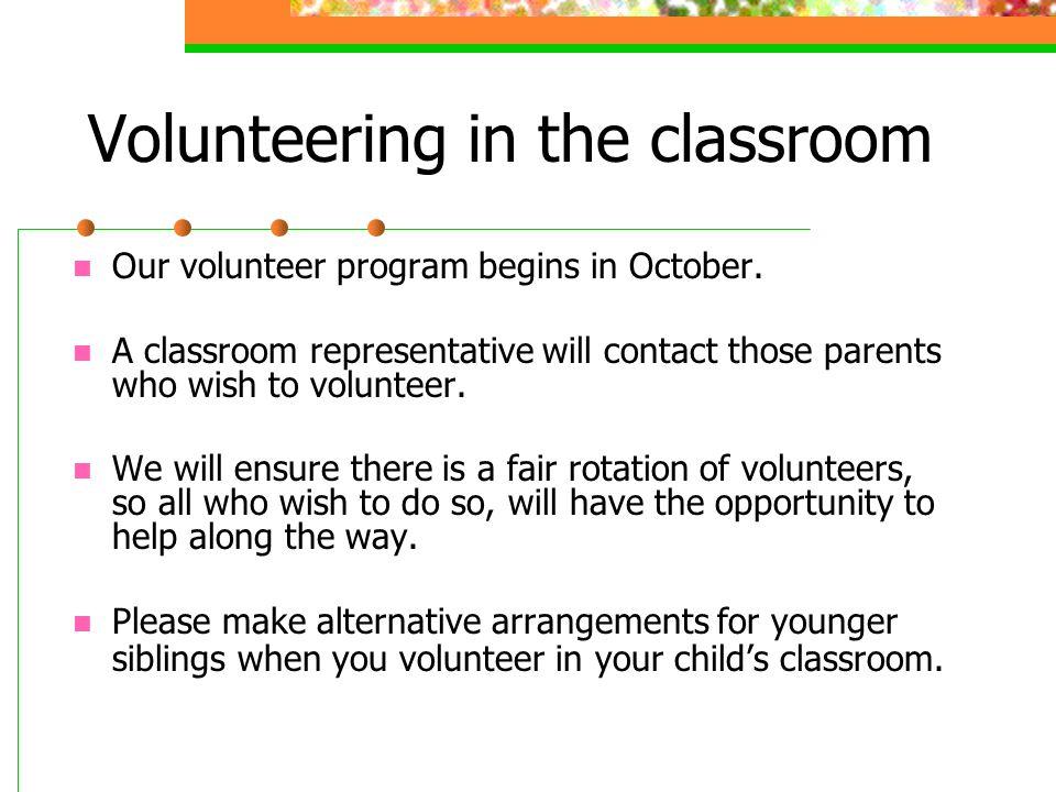 Volunteering in the classroom