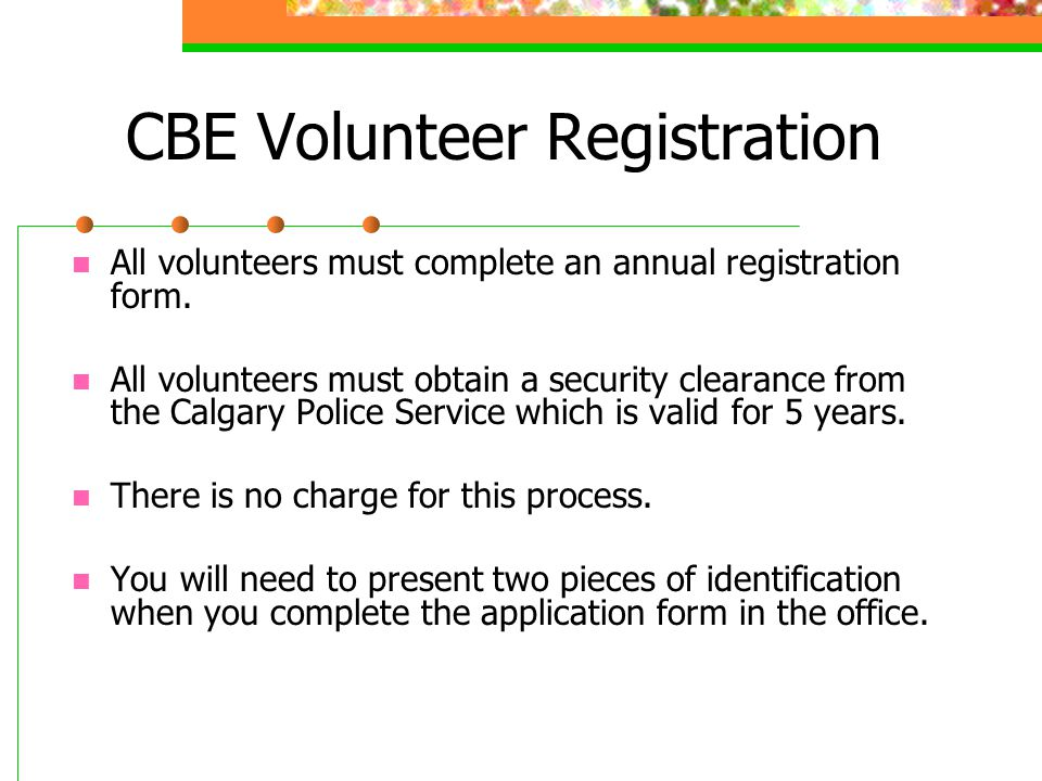 CBE Volunteer Registration