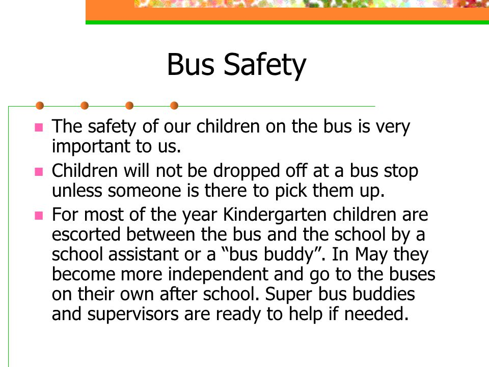 Bus Safety The safety of our children on the bus is very important to us.