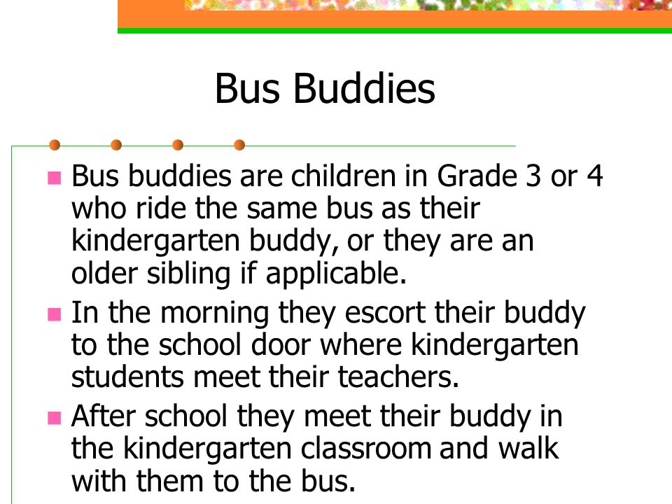 Bus Buddies Bus buddies are children in Grade 3 or 4 who ride the same bus as their kindergarten buddy, or they are an older sibling if applicable.