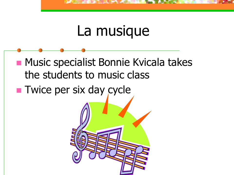 La musique Music specialist Bonnie Kvicala takes the students to music class.