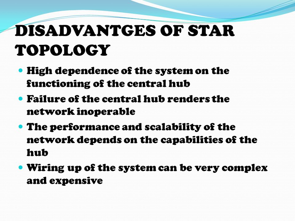 DISADVANTGES OF STAR TOPOLOGY