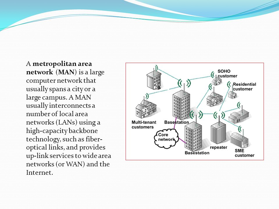 A metropolitan area network (MAN) is a large computer network that usually spans a city or a large campus.