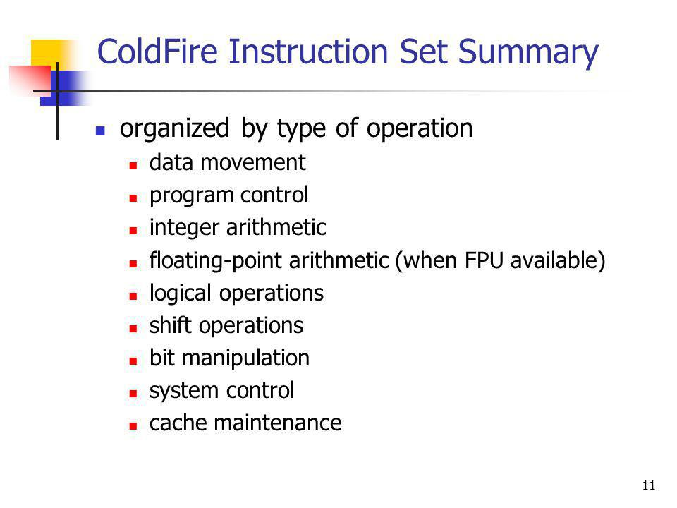 ColdFire Instruction Set Summary