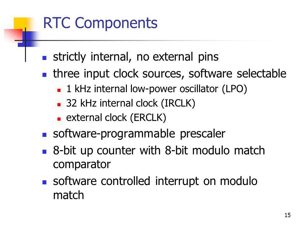 RTC Components strictly internal, no external pins