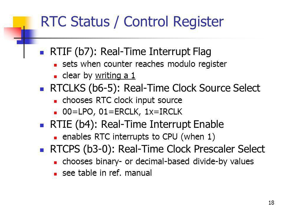 RTC Status / Control Register