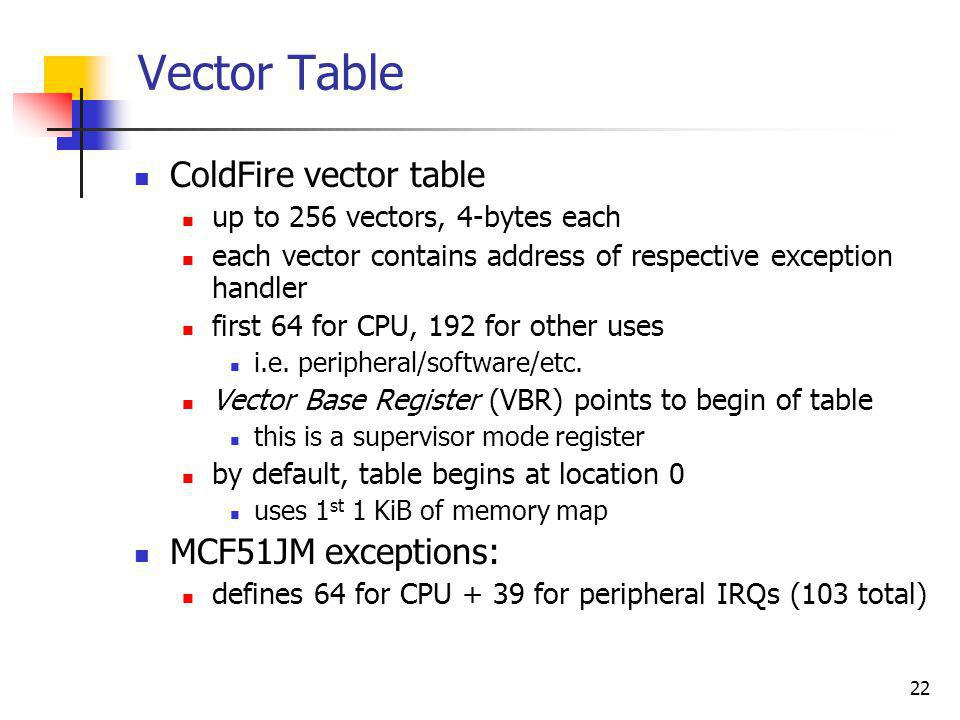 Vector Table ColdFire vector table MCF51JM exceptions: