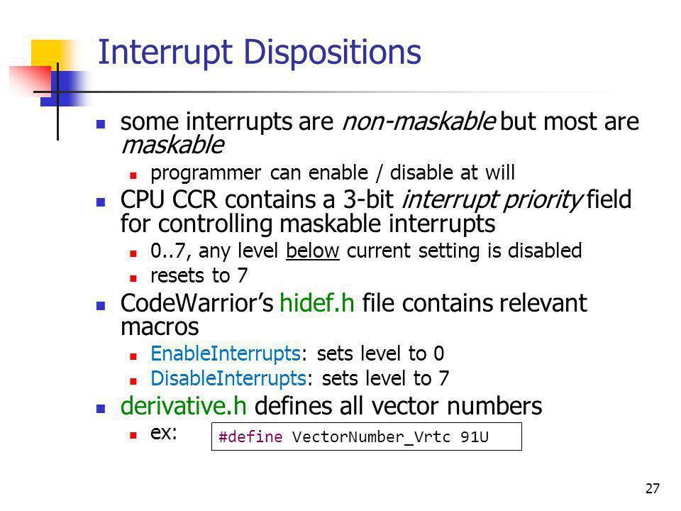 Interrupt Dispositions