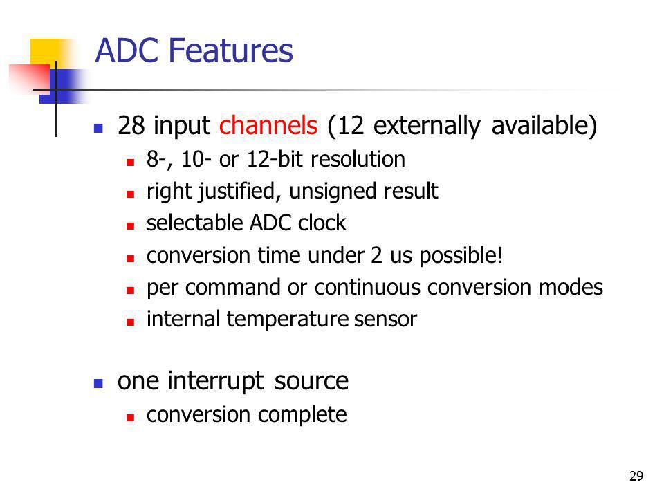 ADC Features 28 input channels (12 externally available)