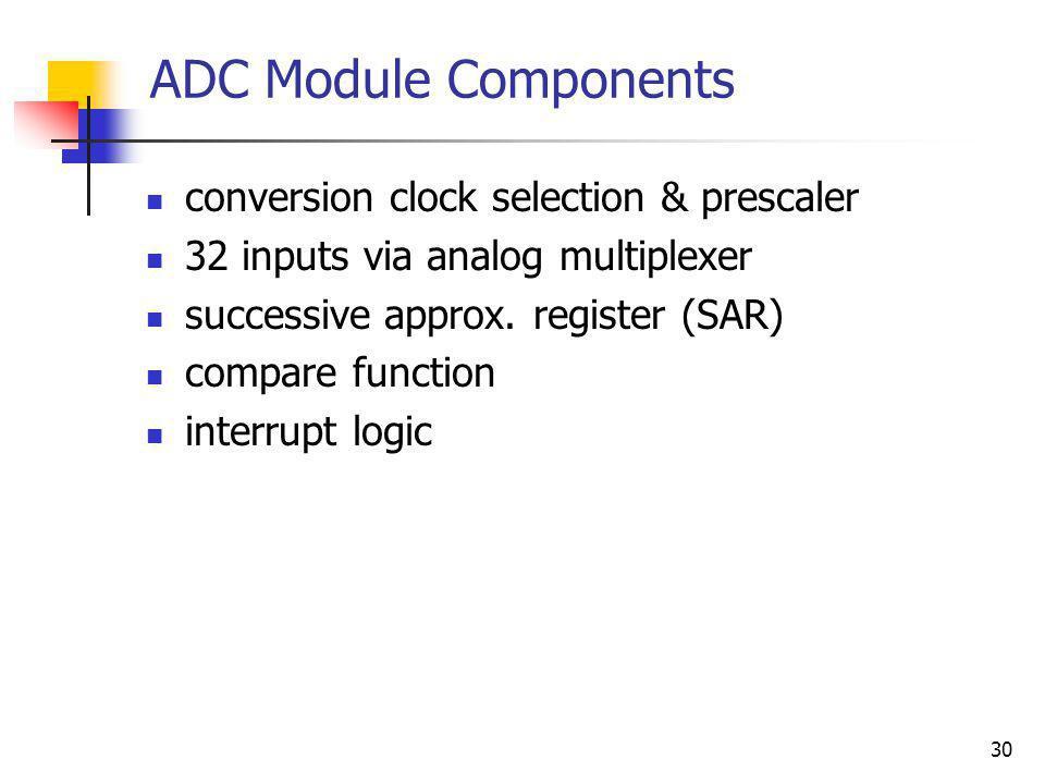 ADC Module Components conversion clock selection & prescaler