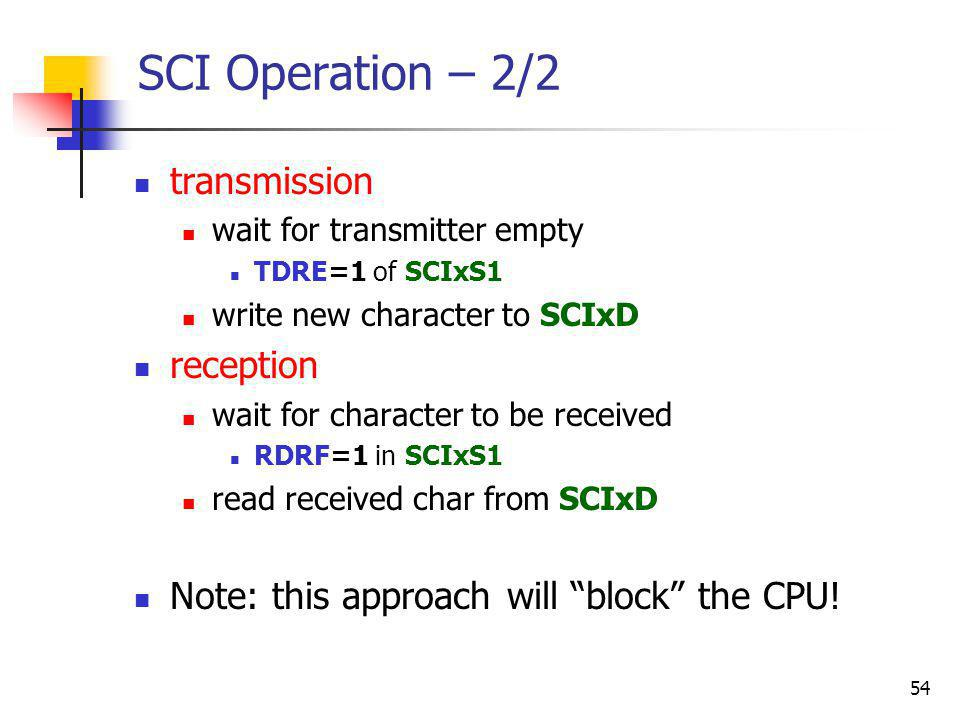 SCI Operation – 2/2 transmission reception
