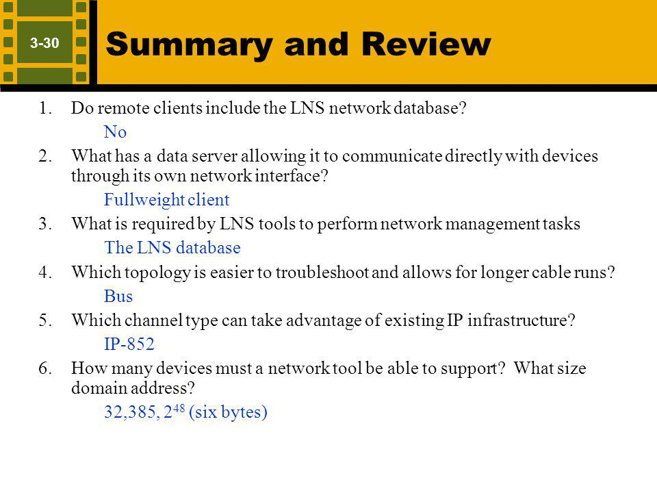 Summary and Review No Fullweight client The LNS database Bus IP-852