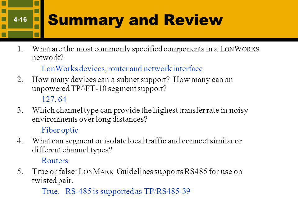 Summary and Review LonWorks devices, router and network interface
