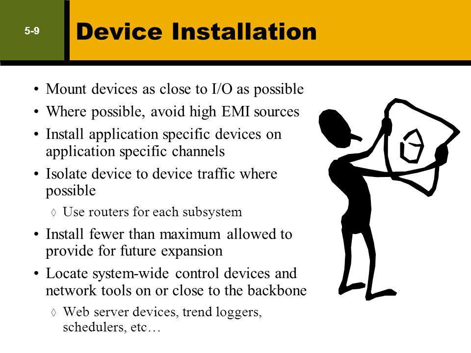Device Installation Mount devices as close to I/O as possible