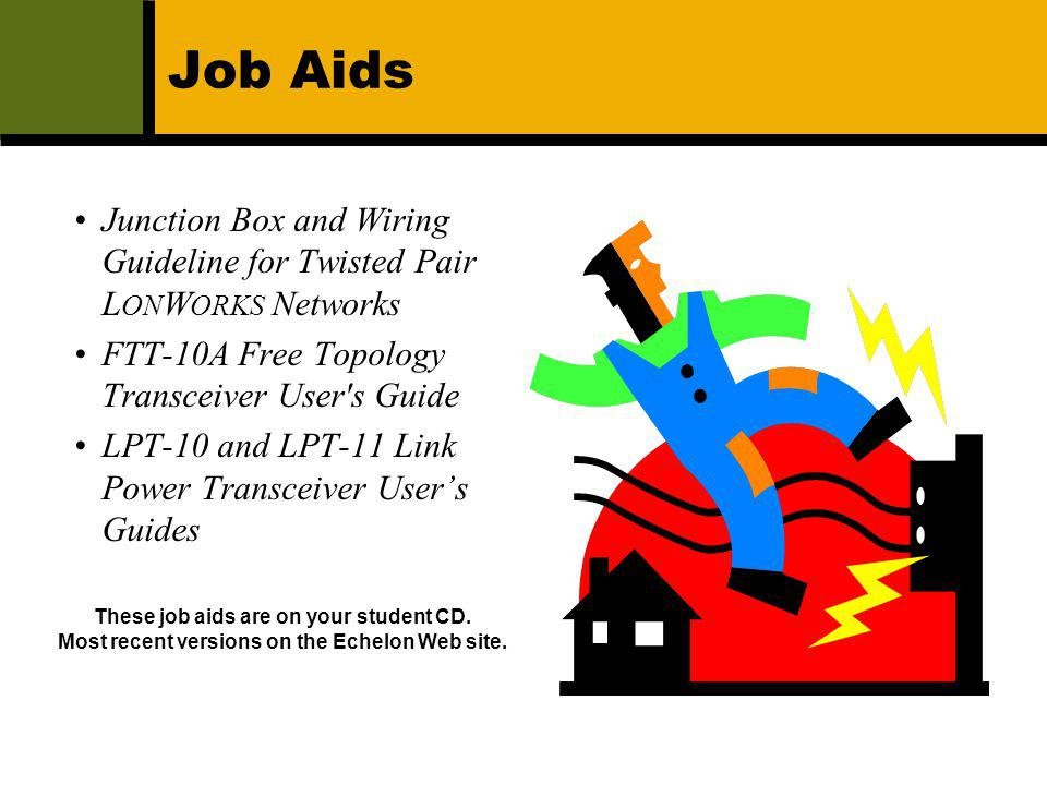 Job Aids Junction Box and Wiring Guideline for Twisted Pair LONWORKS Networks. FTT-10A Free Topology Transceiver User s Guide.