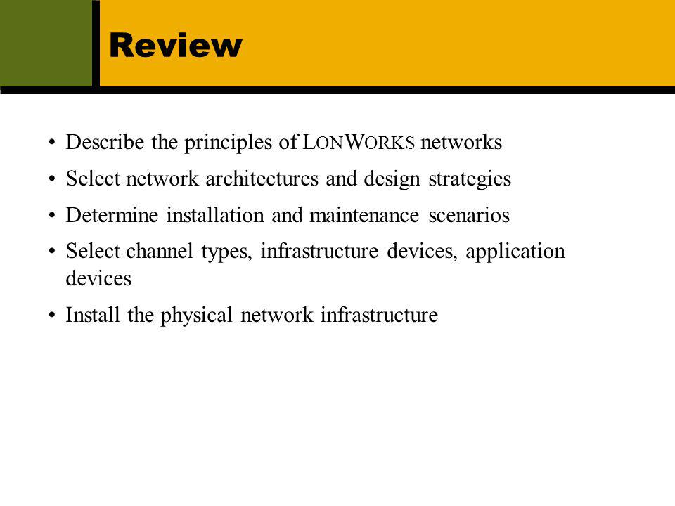 Review Describe the principles of LONWORKS networks