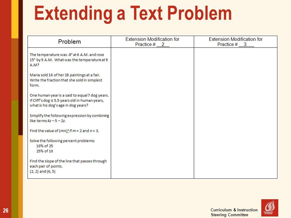 Extending a Text Problem