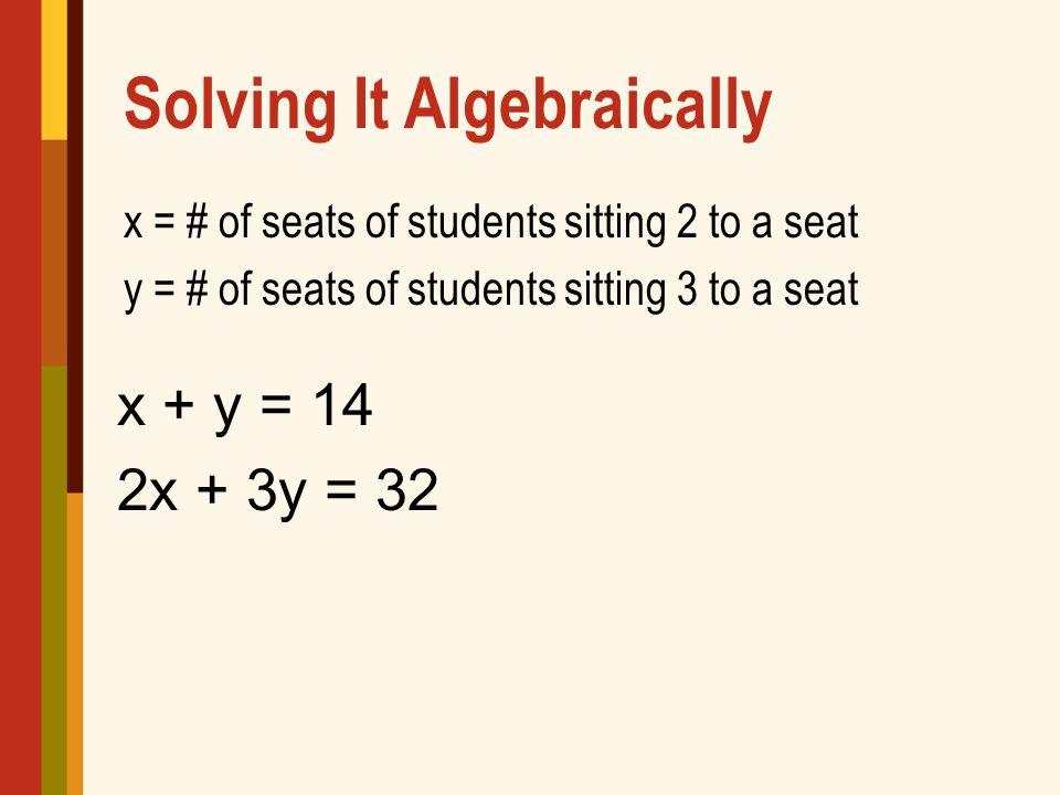 Solving It Algebraically