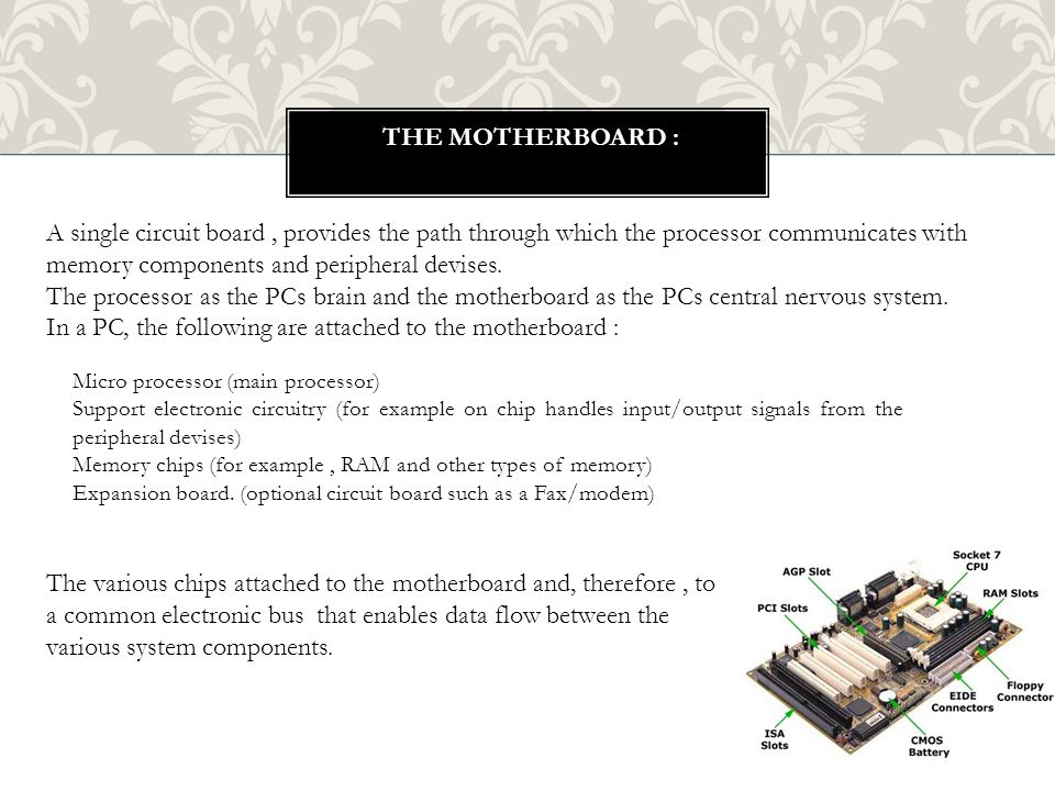 In a PC, the following are attached to the motherboard :