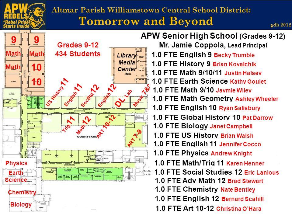 APW Senior High School (Grades 9-12) Mr. Jamie Coppola, Lead Principal