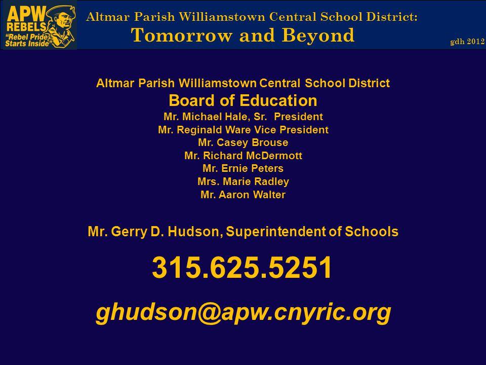 ghudson@apw.cnyric.org Board of Education