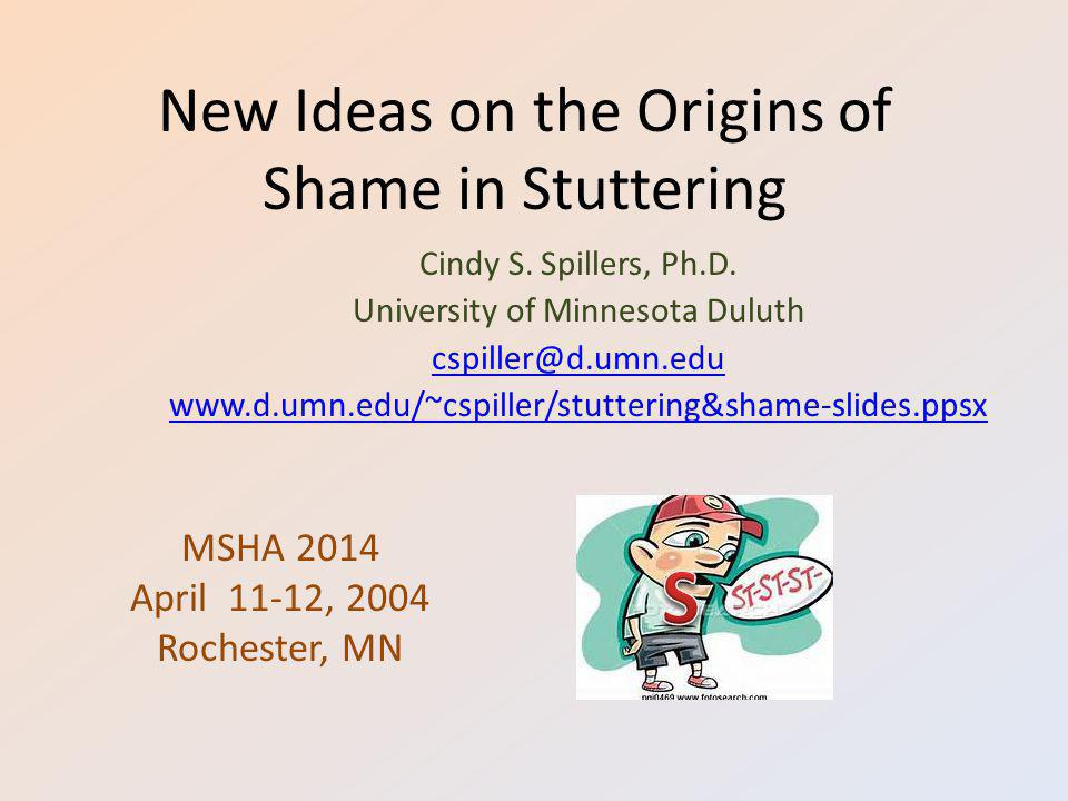 New Ideas on the Origins of Shame in Stuttering