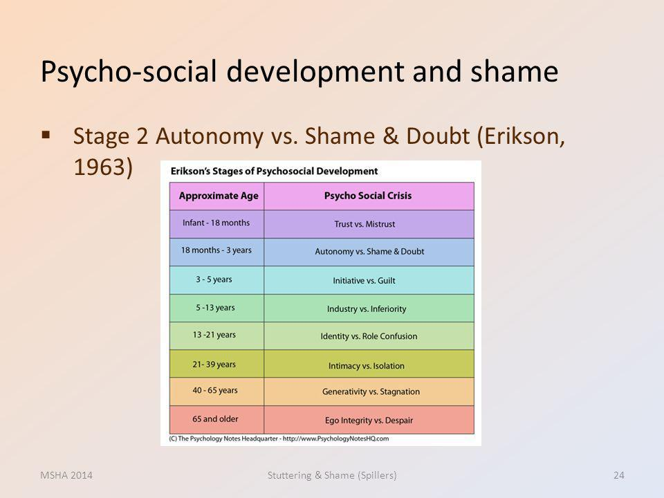 Psycho-social development and shame