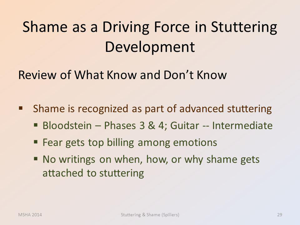 Shame as a Driving Force in Stuttering Development