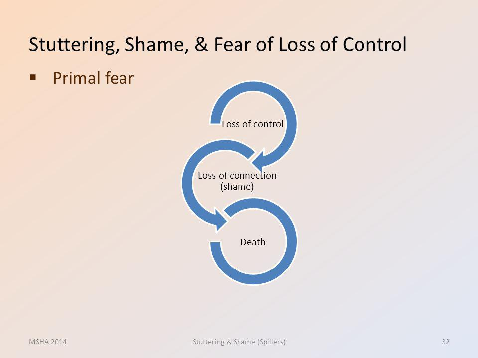 Stuttering, Shame, & Fear of Loss of Control